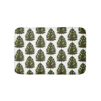 Decorated Victorian Christmas Tree Bathroom Mat - shower gifts diy customize creative