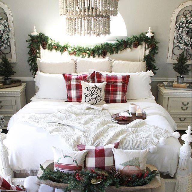 farmhouse christmas, farmhouse bedroom, fixer upper style, white beaded chandelier, white bedroom decor, farmhouse bedroom, christmas decor, farmhouse style, fixer upper style, christmas garland