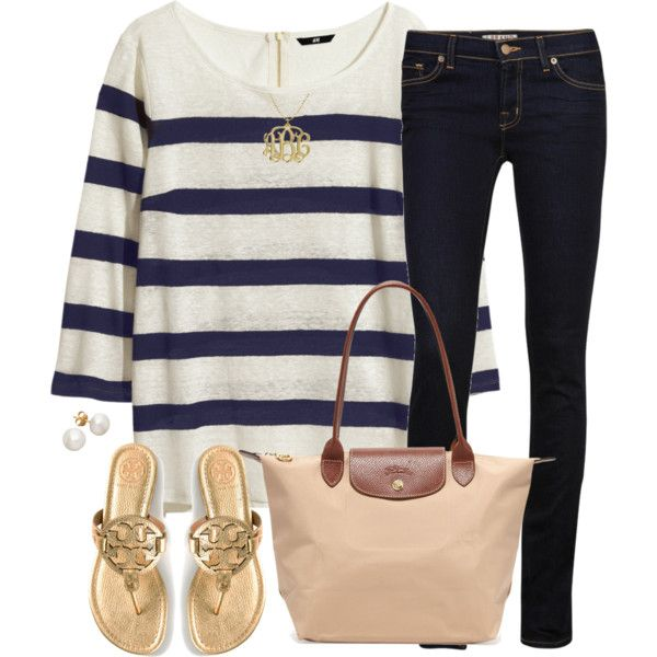 navy stripes by tex-prep on Polyvore featuring H&M, J Brand, Tory Burch and Longchamp