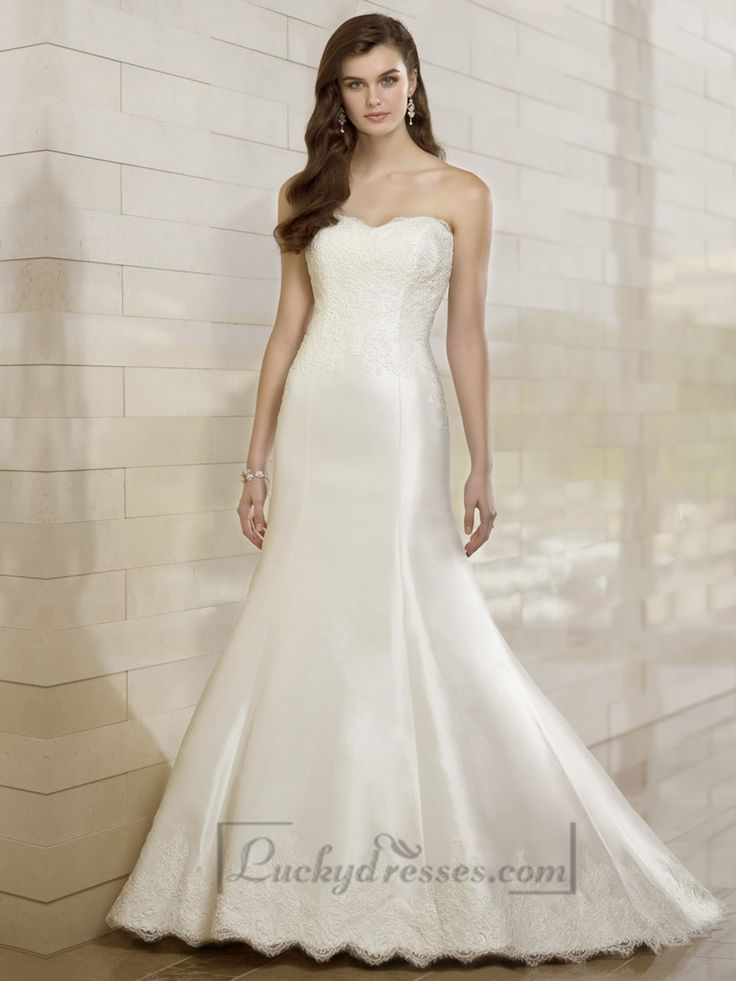 Elegant Fit and Flare Lace Appliques Sweetheart Wedding Dresses Sale On LuckyDresses.com With Top Quality And Discount