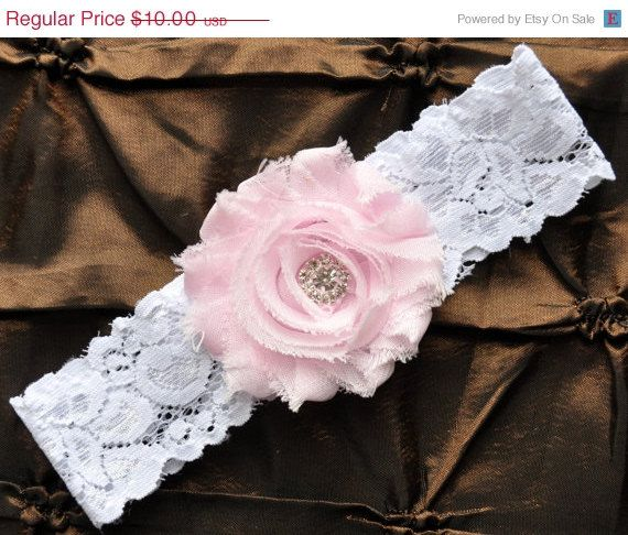 SALE Wedding Garter, Bridal Garter - White Lace Garter, Toss Garter, Shabby Chiffon Rosette Baby Pink, Baby Pink Wedding Garter