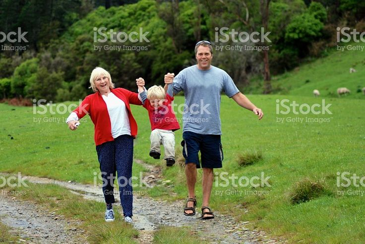 Two Generation Family on a Walk royalty-free stock photo