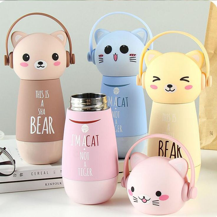 260ml Cartoon Mini Termoses Mug Cute Animal Stainless Steel Vacuum Flask Hot Water Flask Portable Insulated Bottle Kettle