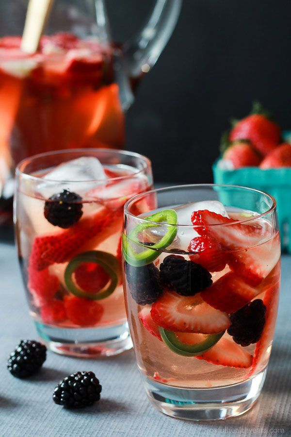 Strawberry Jalapeño White SangriaBring some heat to your sweet with this killer duo of berries and spicy jalapeños. #refinery29 http://www.refinery29.com/tequila-drinks#slide-15