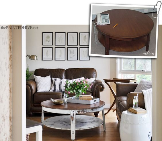 Find This Pin And More On Decorating A Round Coffee Table Distressed