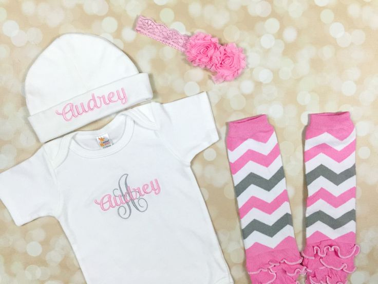 7 best new baby gifts images on pinterest little boys clothes baby girl coming home outfit personalized bodysuit newborn girl outfit personalized baby hat monogram gown personalized baby clothes negle Gallery