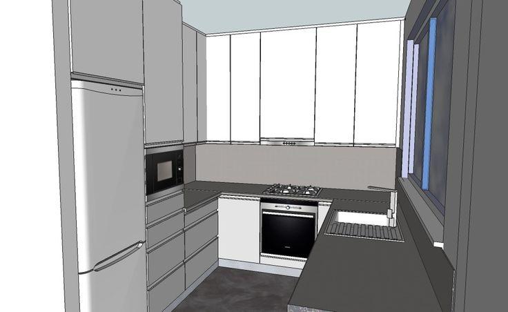 kuchyň Prášek  šedá a bílá