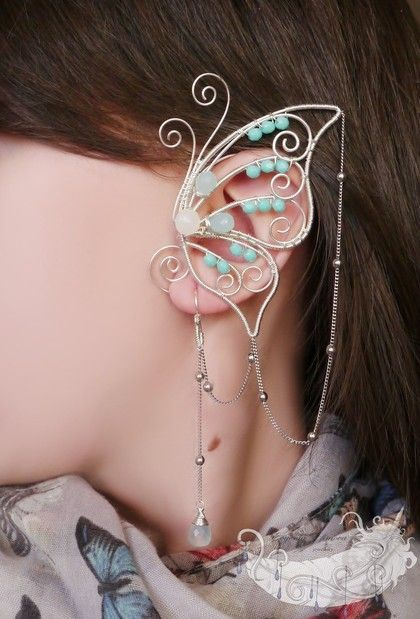 Butterfly earpiece | ear piece, earring | silver and light blue beads | Fantasy Jewelry, cute, elf, elven. magical, magic, Fairy