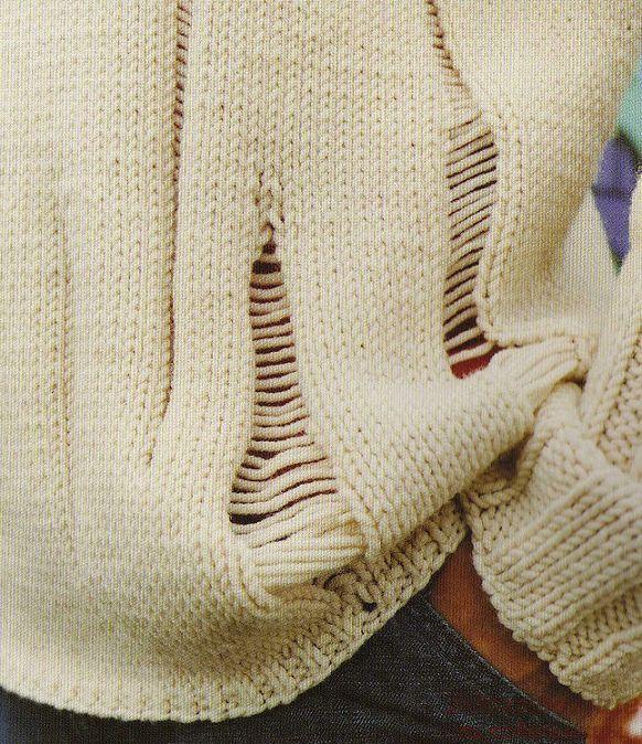 кративная идея, вязание спицами, спущенные петли
