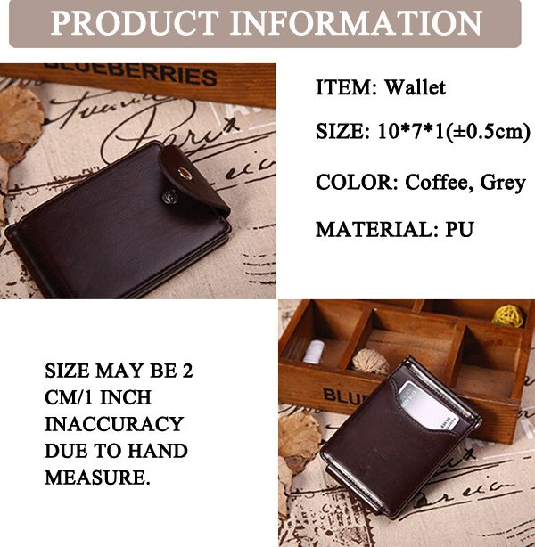 Men PU Leather Short Wallet Business Coin Bag with 6 Card Slots Card Holder