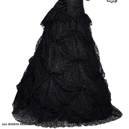 Breann lange geplooide rok met strikjes en rozen detail zwart - Victoriaans Gothic Middeleeuws Halloween