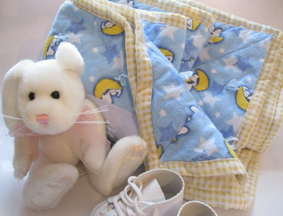 Baby Bedding Snoopy Blanket Crib Blanket Blue by mailordervintage