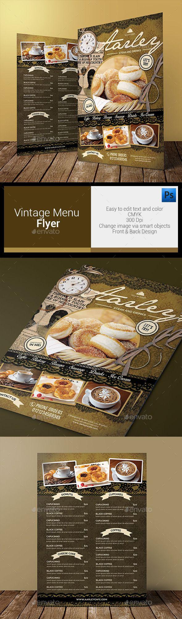 Vintage Menu Flyer Template #design Download: http://graphicriver.net/item/vintage-menu-flyer/12325272?ref=ksioks
