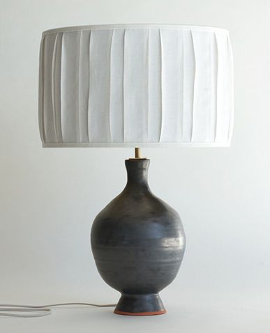 Pewter Ball Lamp By Bone Simple. Terra Cotta Base With Gold Lined Shade.  Lighting