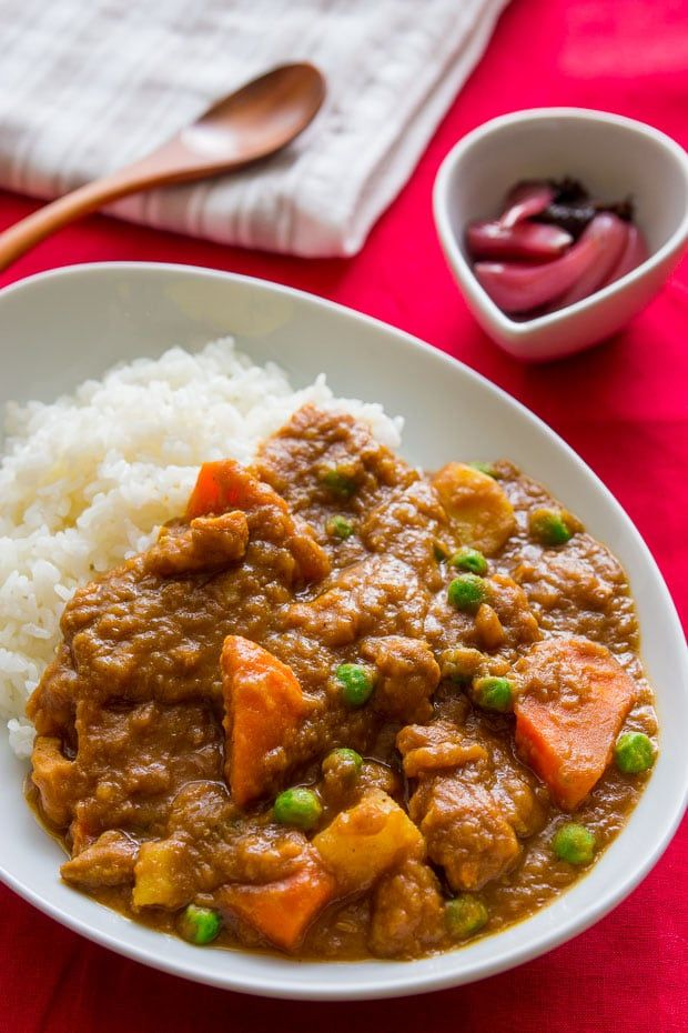 Japanese curry (カレー) from scratch. Loaded with tender hunks of chicken, carrots and potatoes in a rich savory curry sauce.