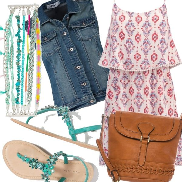 Gilet smanicato di jeans, vestito in stile navajo, tracolla color cuoio e turchese nel bracciale che viene ripreso nei sandali gioiello per dare un tocco in più all'outfit boho.