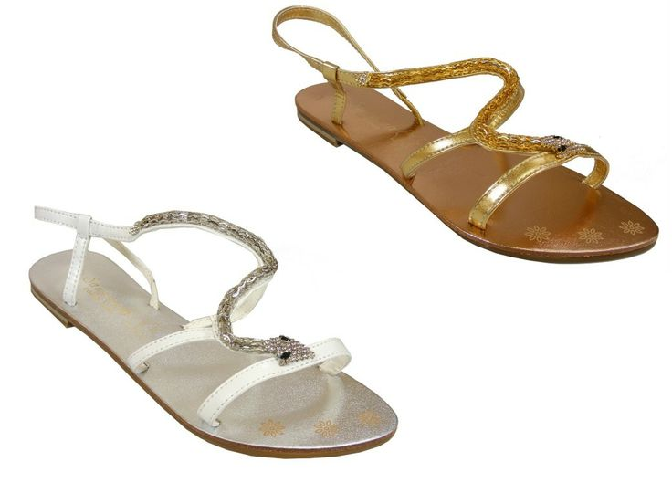 Gold diamante sandals flat