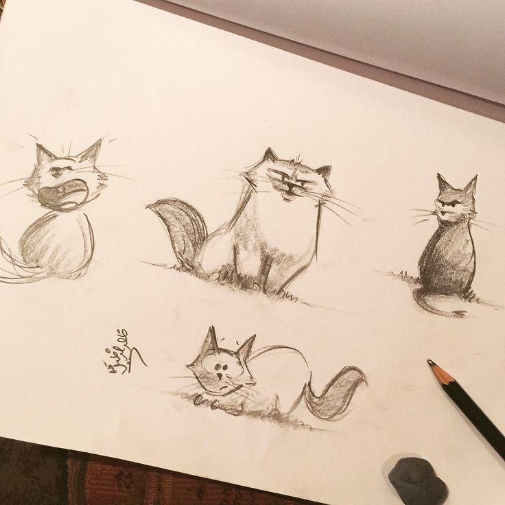 Kittens by Khalid al Dakheel - 2015 #artwork #sketch #drawing #illustration #cartoon