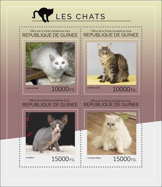 Post stamp Guinea GU 14405 aDomestic cats (The Turkish Van, {…}, The white Persian)