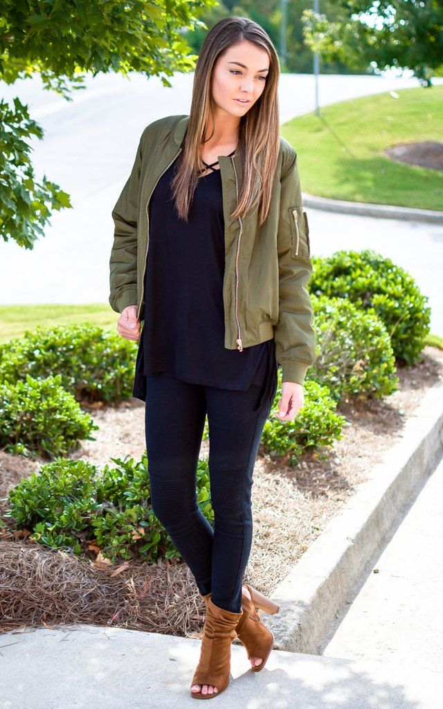 Army Green Bomber Jacket #myendlessknot  Black on black with a hint of olive. Yes please.