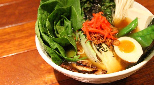 Vegetarian ramen with kelp and shitaki broth, tofu and greens