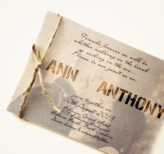 Rustic wedding invitation and RSVP set with Vellum door AnnsPaperie, $6.50