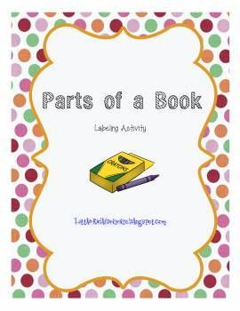 Parts of a Book worksheet for K-2. Includes key for title, author, barcode, spine, back cover, front cover, illustration, call number, and pages. Call Number is blank for students to complete