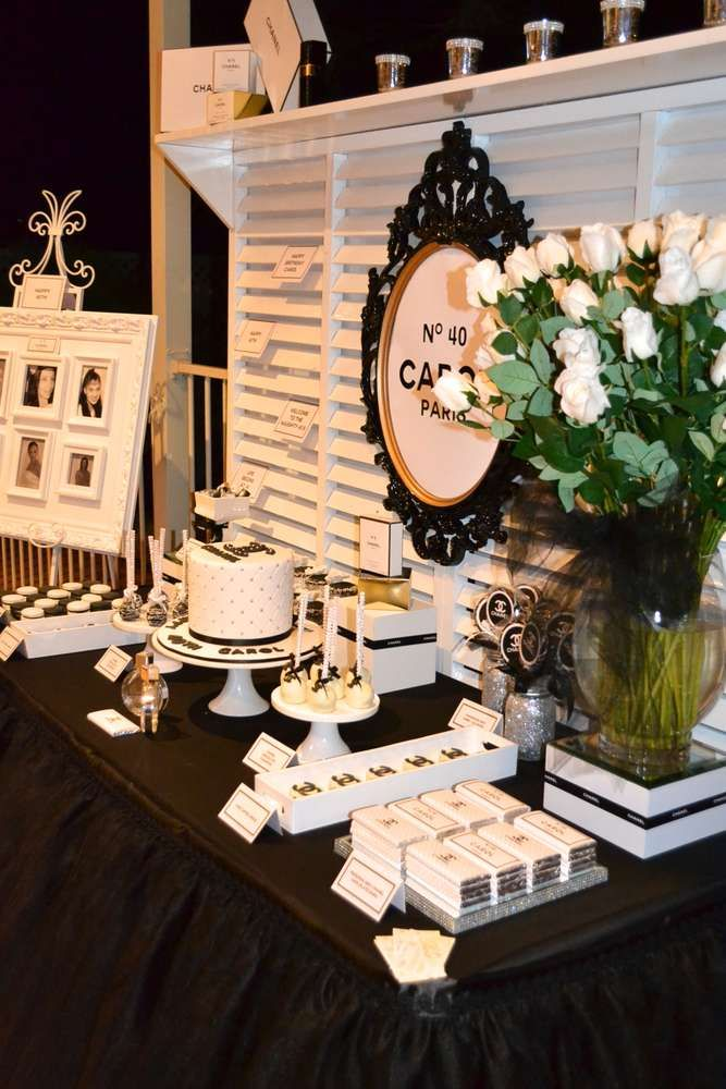 Black & White Chanel theme Birthday Party Ideas | Party Planning