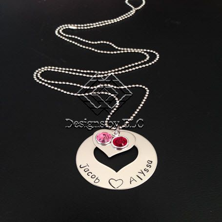 Mum Hand Stamped Customed Personalised Pendant / by DesignsbyELC