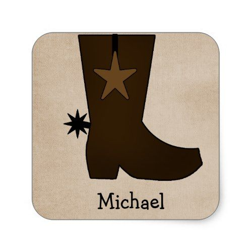 Cowboy Birthday Party Favors Personalized Cowboy Boot Stickers