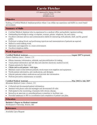 certified or registered medical assistant resume template