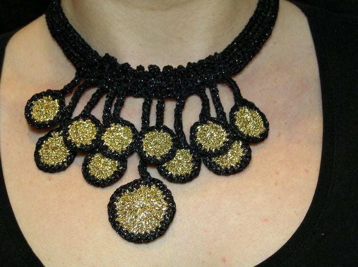 crochet flower synthesis: handmade jewelry: Summer night -crochet necklase