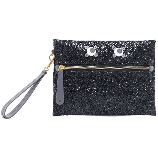 ANYA HINDMARCH 'Eyes' Clutch (€390) ❤ liked on Polyvore featuring bags, handbags, clutches, anya hindmarch handbags, genuine leather purse, glitter purse, leather clutches and genuine leather handbags
