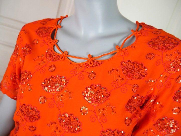 1970s Vintage Indian Tunic Shirt, Orange Beaded Sequined Tunic Shirt, Possible Mini Skirt, Orange Floral Design: Size by YouLookAmazing on Etsy
