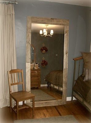 I found this and I am in love... pallet mirror made using a closet mirror.  I will definitely have to try to make this.