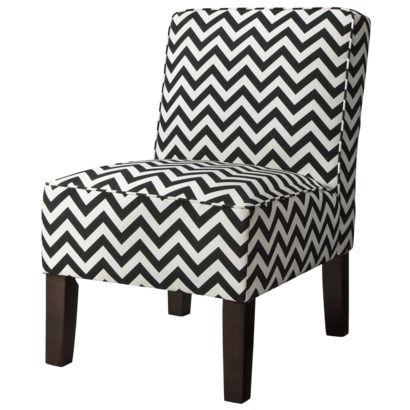 Armless Upholstered Accent Slipper Chair - Black White Chevron