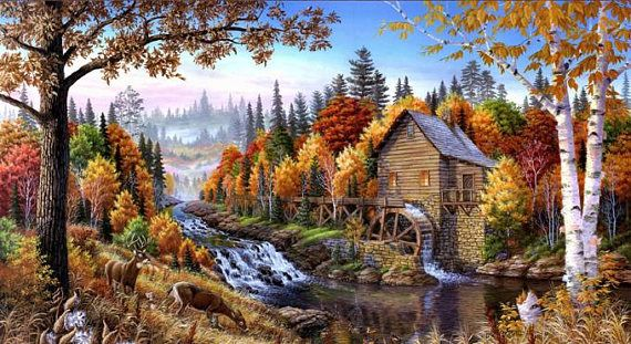 Fall Woods Mill Cross Stitch PatternLOOK