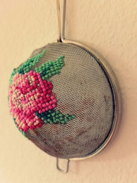 Tapestry sieve I have honestly never seen this craft before, I know, I know, I'm sure that if you type 'tapestry sieve' into Pinterest, LOADS will appear, so call me naive, but there you go - I LOVE this! My