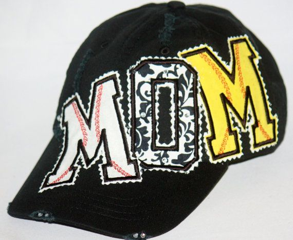 Custom baseball / softball MOM with rhinestones on by SpiritLoft