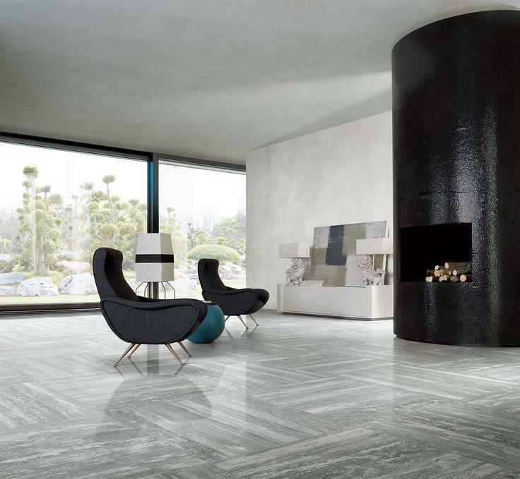 Carrelage grand format. Effet marbre. Gris et blanc. #decoration #minimaliste #carrelage #xxl