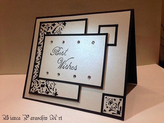 Baroque style handmade card with Swarovski elements