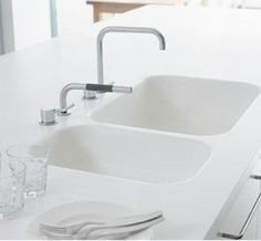 corian white built in sink - Google Search