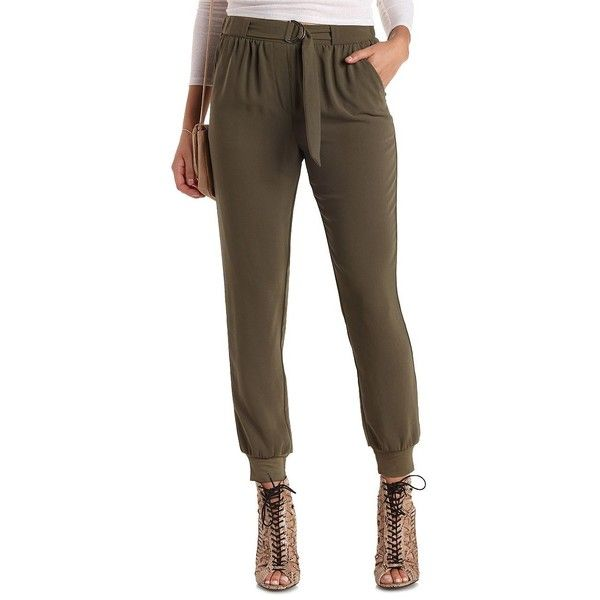 Charlotte Russe Olive D-Ring Belted Jogger Pants by Charlotte Russe at... ($27) ❤ liked on Polyvore featuring pants, olive, high-waisted pants, woven jogger pants, high waist stretch pants, jogger pants and shiny pants