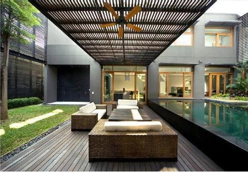 i want a courtyard just like this. i want to a stretch of a fountain and a sheltered area i can watch the storms under.