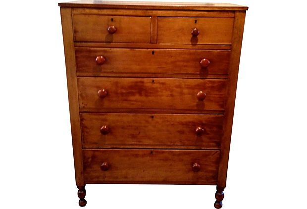 Beautiful 19th-century American cherry dresser with five drawers. Well-made.