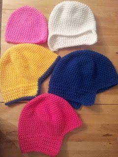 Crocheting instructions for basic ear flap hat in all sizes.
