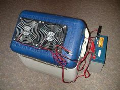 DIY Portable 12V Air Conditioner - Cheap and easy! This project includes materials list with the places and prices for inexpensive little items such as a bilge pump that make up this unit. It is designed to throw ice in from the freezer (not dry ice), plug into car 12V and cool the car while driving with a broken air conditioner.  For longer drives, stop and buy more ice!  Designed for a small car.