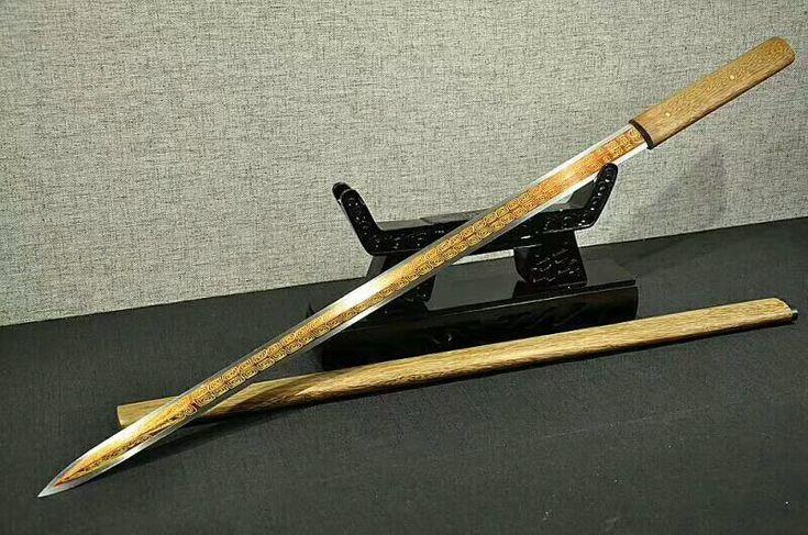 Tang jian(High carbon steel etching blade,Rosewood scabbard)Full tang