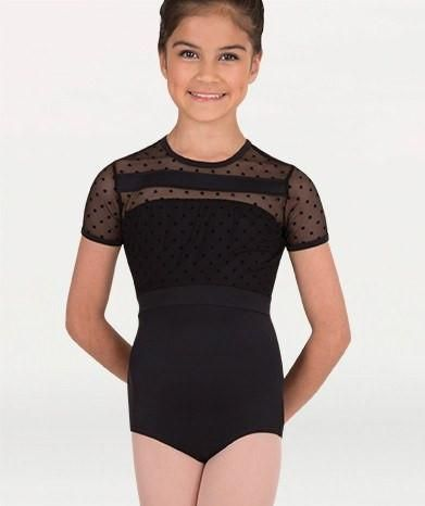Body Wrappers P1044 Dotted Cap Sleeve Leotard black