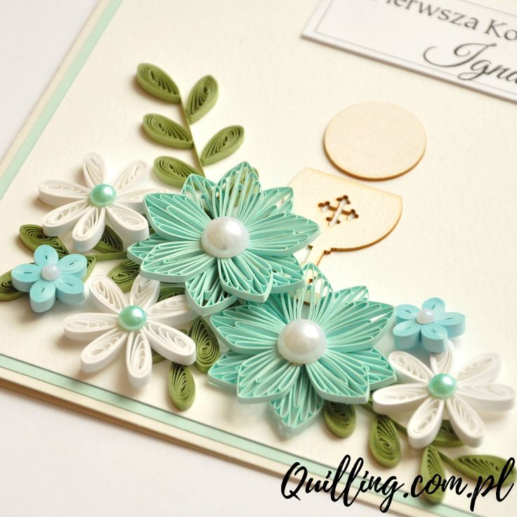 quilling, husking, DIY, handmade,greeting card, first communion, paperart, quilling.com.pl